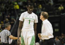 Oregon Ducks center Bol Bol (1) walks off the court after getting called for a technical foul during the second half against Eastern Washington Eagles at Matthew Knight Arena. The Ducks beat the Eagles 81-47. Mandatory Credit: Troy W