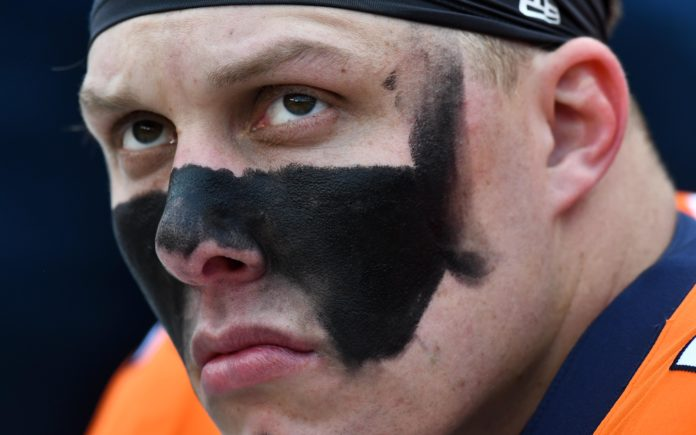 Garett Bolles in 2018. Credit: Ron Chenoy, USA TODAY Sports.