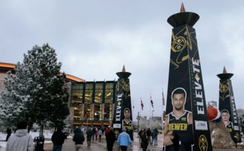 Fans walk to the entrance before game one of the second round of the 2019 NBA Playoffs between the Denver Nuggets and the Portland Trail Blazers at the Pepsi Center.