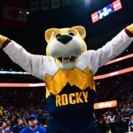 Denver Nuggets mascot Rocky cheer in the fourth quarter against the Portland Trail Blazers in game five of the second round of the 2019 NBA Playoffs at Pepsi Center.