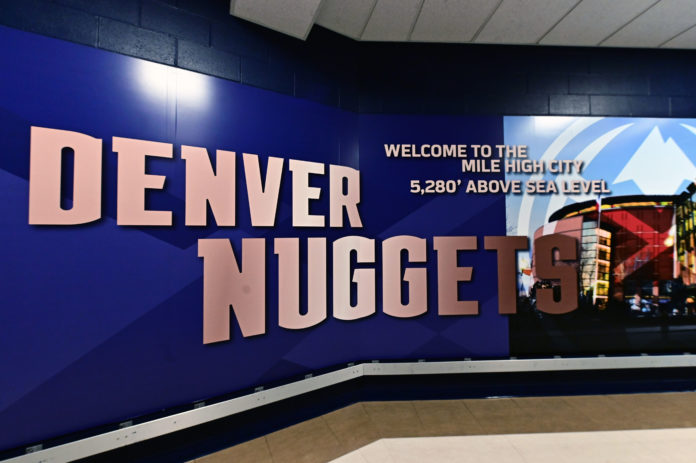 General view of the elevation signage inside the Pepsi Center before the game between the Portland Trail Blazers against the Denver Nuggets in game seven of the second round of the 2019 NBA Playoffs at Pepsi Center.