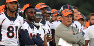 Denver Broncos head coach Vic Fangio watches from the sidelines against the Atlanta Falcons during the Pro Football Hall of Fame Game at Tom Benson Hall of Fame Stadium.