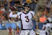 Denver Broncos quarterback Drew Lock (3) throws a pass in the third quarter against the Atlanta Falcons during the Pro Football Hall of Fame Game at Tom Benson Hall of Fame Stadium.