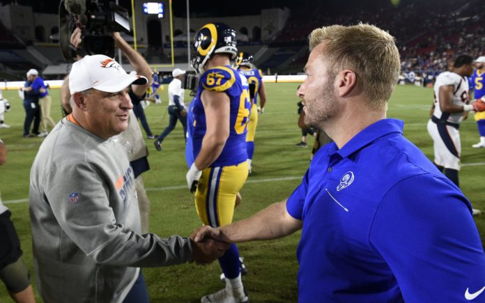 Vic Fangio and Sean McVay. Credit: Kevin Kuo, USA TODAY Sports.