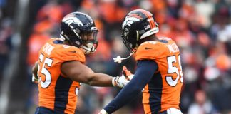 Von Miller and Bradley Chubb celebrate in 2018. Credit: Ron Chenoy, USA TODAY Sports.