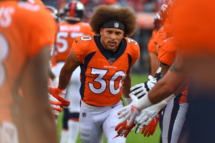 Denver Broncos running back Phillip Lindsay (30) before the game against the San Francisco 49ers at Broncos Stadium at Mile High.