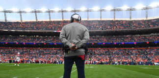 Denver Broncos head coach Vic Fangio on the sidelines in the first quarter against the Arizona Cardinals at Broncos Stadium at Mile High.