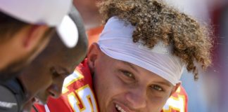 Patrick Mahomes. Credit: Douglas DeFelice, USA TODAY Sports.