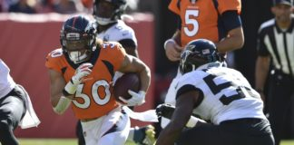 Phillip Lindsay on his 28-yard run. Credit: Michael Madrid, USA TODAY Sports.