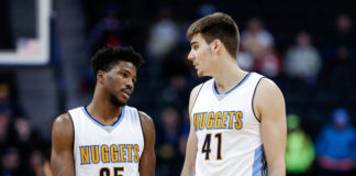 Denver Nuggets guard Malik Beasley (25) and forward Juancho Hernangomez (41) in the fourth quarter against the Memphis Grizzlies at the Pepsi Center.