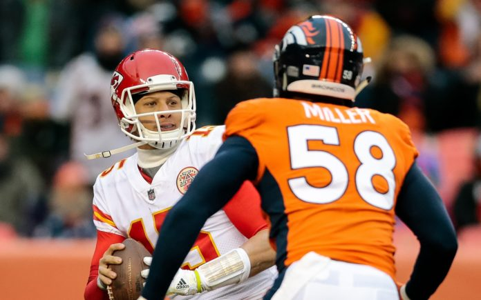 Von Miller rushes Patrick Mahomes in 2017. Credit: Isaiah J. Downing, USA TODAY Sports.