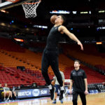 Denver Nuggets forward Michael Porter Jr. (1) warms up before a game against the Miami Heat at American Airlines Arena.