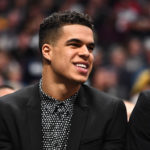 Denver Nuggets forward Michael Porter Jr. (1) on the bench in the second half against the Portland Trail Blazers at the Pepsi Center.