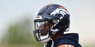 Denver Broncos offensive tackle Ja'Wuan James (70) looks on during mini camp drills at the Pat Bowlen Fieldhouse at UCHealth Training Center.
