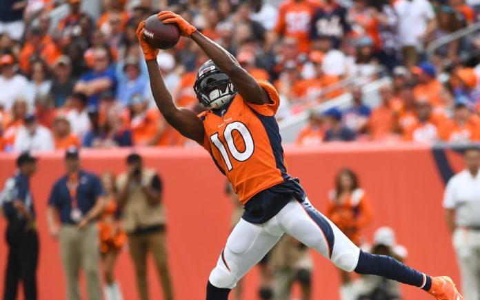 Emmanuel Sanders catch. Credit: Ron Chenoy, USA TODAY Sports.
