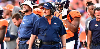 Denver Broncos head coach Vic Fangio walks the sidelines in the third quarter against the Jacksonville Jaguars at Empower Field at Mile High.