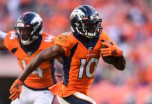 Emmanuel Sanders in September. Credit: Ron Chenoy, USA TODAY Sports.