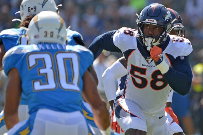 Denver Broncos outside linebacker Von Miller (58) rushes against the Los Angeles Chargers during the first quarter at Dignity Health Sports Park.