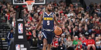 Denver Nuggets guard Will Barton (5) dribbles the ball against the Portland Trail Blazers in the first half at Veterans Memorial Coliseum.