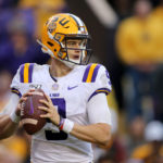 LSU Tigers quarterback Joe Burrow (9) looks to throw against the Auburn Tigers in the second half at Tiger Stadium.