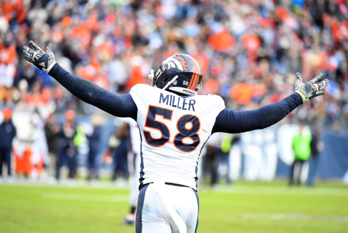 Denver Broncos Von Miller (58) celebrates after a defensive stop in the second half against the Tennessee Titans at Nissan Stadium. The Titans won 13-10.