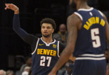 Denver Nuggets guard Jamal Murray (27) reacts during the second half against the Memphis Grizzlies at FedExForum.