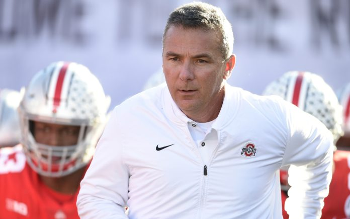 Urban Meyer leads his Buckeyes out onto the field for the Rose Bowl in Jan. of this year. Credit: Kevin Kuo, USA TODAY Sports.