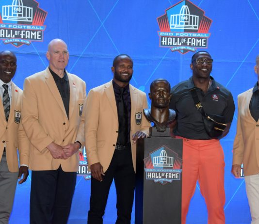 Shannon Sharpe and other Broncos Hall of Famers at Champ Bailey's induction. Credit: Kirby Lee, USA TODAY Sports.