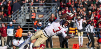 Florida State Seminoles running back Cam Akers (3) dives into the end zone for a touchdown against the Boston College Eagles during the second half at Alumni Stadium.