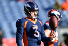 Denver, CO, USA; Denver Broncos quarterback Drew Lock (3) before the game against the Los Angeles Chargers at Empower Field at Mile High.