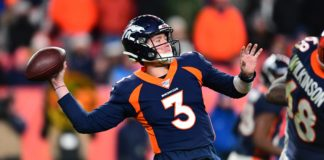 Drew Lock throws deep to Courtland Sutton with eight seconds to play. Credit: Ron Chenoy, USA TODAY Sports.