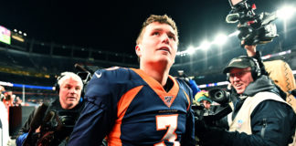 Denver Broncos quarterback Drew Lock (3) following the win over the Los Angeles Chargers at Empower Field at Mile High.