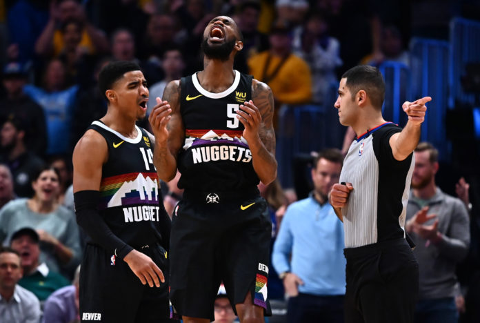 Denver Nuggets guard Will Barton (5) reacts to a foul on him in the fourth quarter against the Los Angeles Lakers at the Pepsi Center.