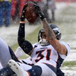 Justin Simmons' incredible interception against Kansas City in the snow last week. Credit: Denny Medley, USA TODAY Sports.