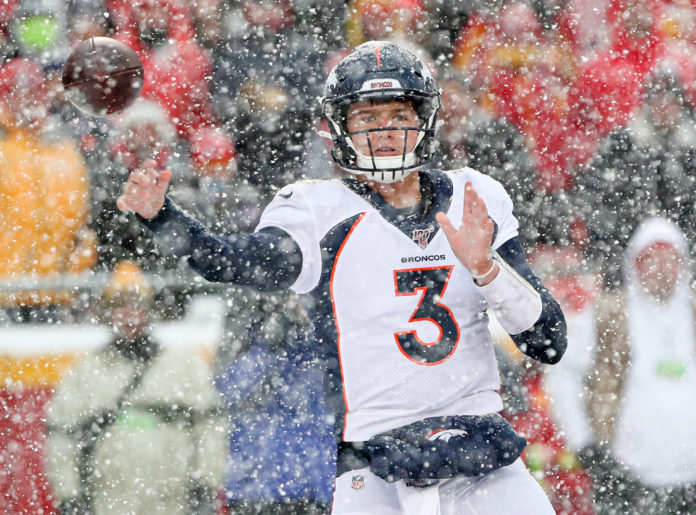 Denver Broncos quarterback Drew Lock (3) throws a pass against the Kansas City Chiefs during the second half at Arrowhead Stadium.