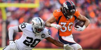 Phillip Lindsay runs away from a Raiders defender on Sunday. Credit: Ron Chenoy, USA TODAY Sports.