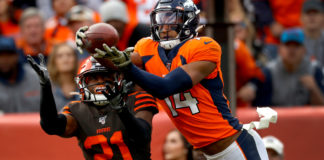 Denver Broncos wide receiver Courtland Sutton (14) pulls in a touchdown pass as Cleveland Browns cornerback Denzel Ward (21) defends during the first half of NFL football game, Sunday, Nov. 3, 2019, in Denver.