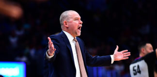 Denver Nuggets head coach Michael Malone calls out in the second quarter against the Portland Trail Blazers at the Pepsi Center.