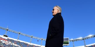 John Elway at the Broncos - Raiders game in Week 17 of 2019. Credit: Ron Chenoy, USA TODAY Sports.