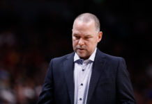 Denver Nuggets head coach Michael Malone in the second quarter against the Indiana Pacers at the Pepsi Center.