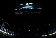 A tribute to Kobe Bryant is shown on the video board before the game between the Denver Nuggets and the Houston Rockets at the Pepsi Center.