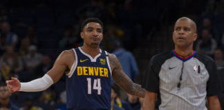 Denver Nuggets guard Gary Harris (14) reacts during the first half against the Memphis Grizzlies at FedExForum.
