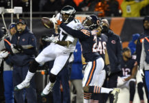 Chicago Bears cornerback Prince Amukamara (20) breaks up a pass intended for Philadelphia Eagles wide receiver Alshon Jeffery (17) in the second half a NFC Wild Card playoff football game at Soldier Field.