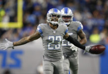 Detroit Lions cornerback Darius Slay (23) celebrates after making an interception during the third quarter against the Chicago Bears at Ford Field.