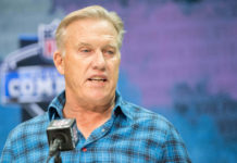Denver Broncos general manager John Elway speaks to the media during the 2020 NFL Combine in the Indianapolis Convention Center.