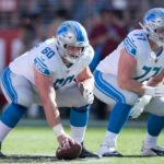 Detroit Lions offensive guard Graham Glasgow (60) and center Frank Ragnow (77) during the fourth quarter against the San Francisco 49ers at Levi's Stadium. The 49ers defeated the Lions 30-27.