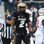 Colorado Buffaloes wide receiver Laviska Shenault Jr. (2) celebrates after his successful fourth down carry against the Stanford Cardinal during the fourth quarter at Folsom Field.