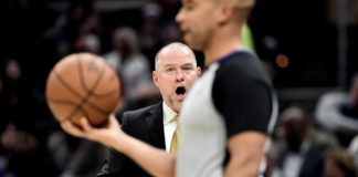 Denver Nuggets head coach Michael Malone argues with referee Matt Myers during the second half against the Cleveland Cavaliers at Rocket Mortgage FieldHouse.