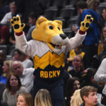 Denver Nuggets mascot Rocky during the first quarter of the game against the Chicago Bulls at the Pepsi Center.