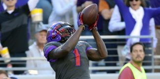 Jalen Reagor catches a touchdown. Credit: Kevin Jairaj, USA TODAY Sports.